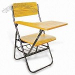 Folding School Chair with Writing Board and Plywood Seat