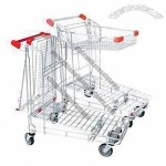 Folding Utility Trolley/Warehouse Cart with Foldable Basket