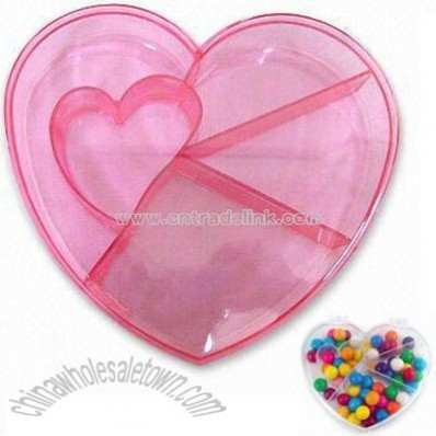 Food Container with Compartments in Heart Shape