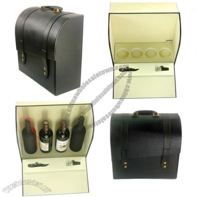 Four Bottle Wine Box - Black PU