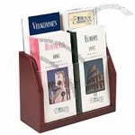 Four Pocket Literature Holder in Red Mahogany Finish