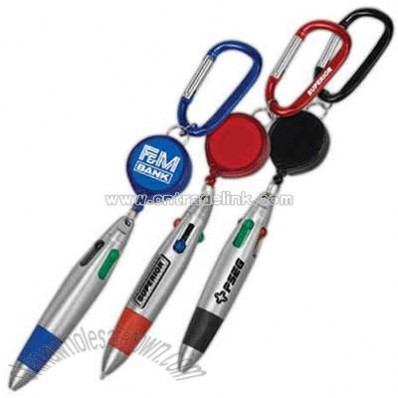 Four-color plastic pen with retractor and carabiner