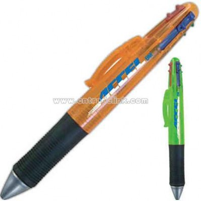 Four color refill ballpoint pen with black soft grip.