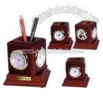 Four in one rosewood desktop pencil holder with clock thermometer and photo frame