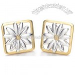 Foursquare Silver Earring Gold Sunflower Design