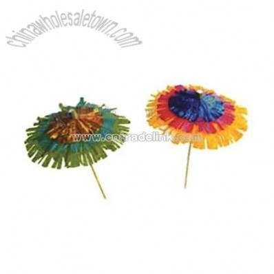 Fringed Rainbow Umbrella Party Picks