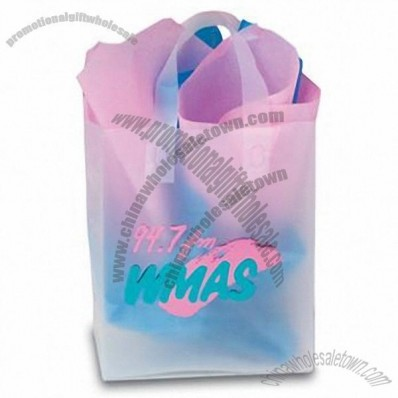 Frosted Clear Plastic Flexi-Loop Shopping Bag - 4 Mil 8