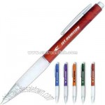 Frosty retractable ballpoint pen with white cushioned finger grip