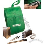 Fuel conservation set with pouch, tire gauge and rechargeable flashlight