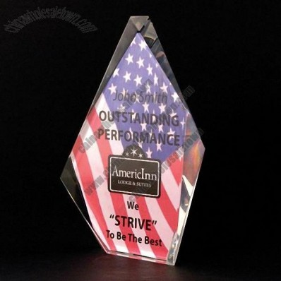 Full-Color Lead Crystal Folding Screen Award - 5 1/2