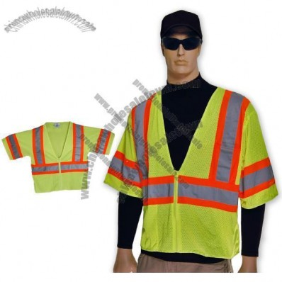 Full Source Lime Mesh Short Sleeve Class 2 Safety Vest