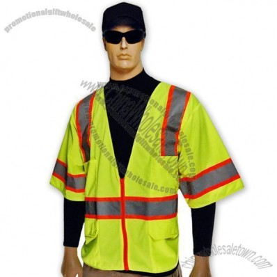 Full Source Lime Non-Mesh Short Sleeve Class 2 Safety Vest