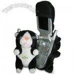 Fun Friends Plush Animal Flip Cell Phone Cover - Puss Puss Black (Cat)