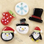 Fused Glass Snowman & Penguin Charm Mix
