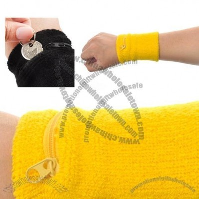 GOGO Thick Solid Color Wristband with Zipper / Wrist Wallet