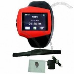 GPS Wristwatch Cellphone with Bluetooth and 1.33-inch TFT Touch Screen, Heart Rate Monitor