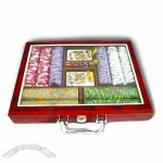 Gambling Poker Chip Set, Wooden Case with Clear Top
