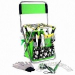 Garden Tool Set with Foldaway Stool and Detachable Carry Bag for Storage
