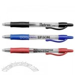 Gel pen with rubber grip and retractable point