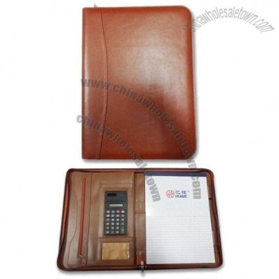 Genuine Leather Zippered Portfolio with Calculator/Card/Document Pockets and A4 Memo Board