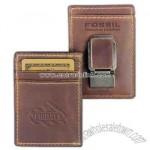 Genuine leather front pocket wallet with 2 credit card slots and sturdy money clip