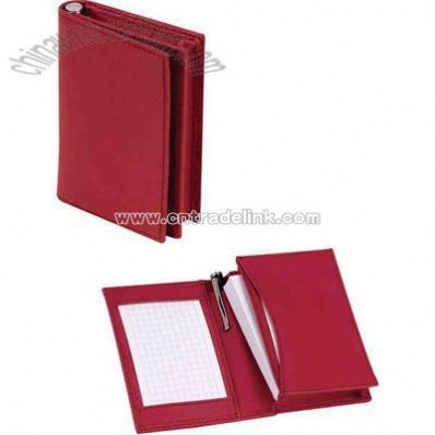 Genuine leather pocket card case and notebook