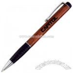 Genuine wood ballpoint pen with black grip section