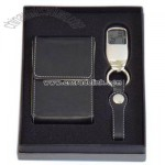 Gift set of LED key chain and leather card case