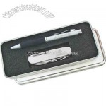 Gift set with ballpoint pen and golf knife