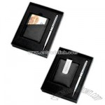 Gift set with ballpoint pen and money clip/credit card case