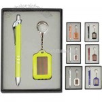 Gift set with metal ballpoint pen and solar key chain in gift box