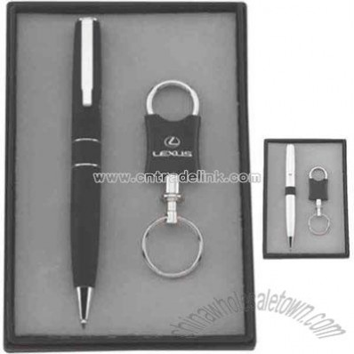 Gift set with metal ballpoint pen and valet keychain