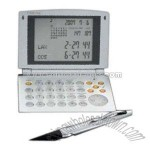Gift set with world time alarm clock / calculator / currency converter with Cybertime and retractable metal pen with rubber grip.