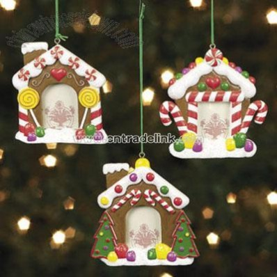 Gingerbread House Photo Frame Ornaments