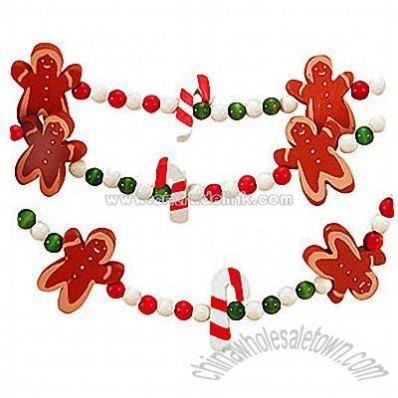 Gingerbread Men and Candy Canes Garland