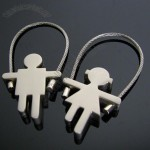 Girl & Boy Metal Cable Keychain Sweethearts Lovers