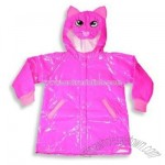 Girls Hooded Raincoat, Fuschia