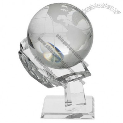 Glass Ball Globe Approx 105mm With A Hand Shape Stand 7 Inches