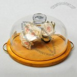 Glass Cake Dome Cover with Wood Pedesta