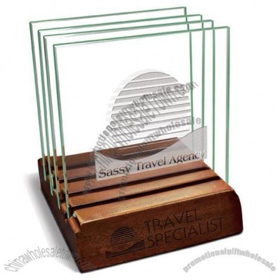 Glass Coaster with holder-square-set of 4