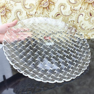 Glass Fruit Tray with Weaving Pattern