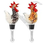 Glass Rooster Wine Bottle Stopper Set