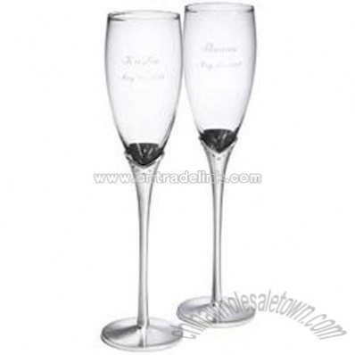 Glass Toasting Flutes with Crystals & Satin Stems