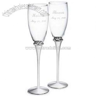 Glass Toasting Flutes with Crystals