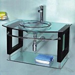Glass Wash Basin with Solid Wood Bracket