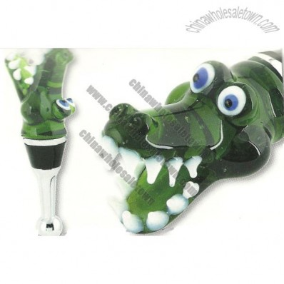 Glass Wine Bottle Stopper - Alligator