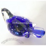 Glass blue and Clear Paperweight Style Bird