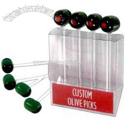 Glass olive picks in a PVC box