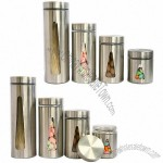 Glass storage container, canister, see-through window and S/S shell