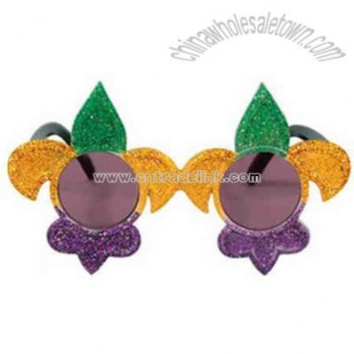 Glittered jester hat shaped sunglasses